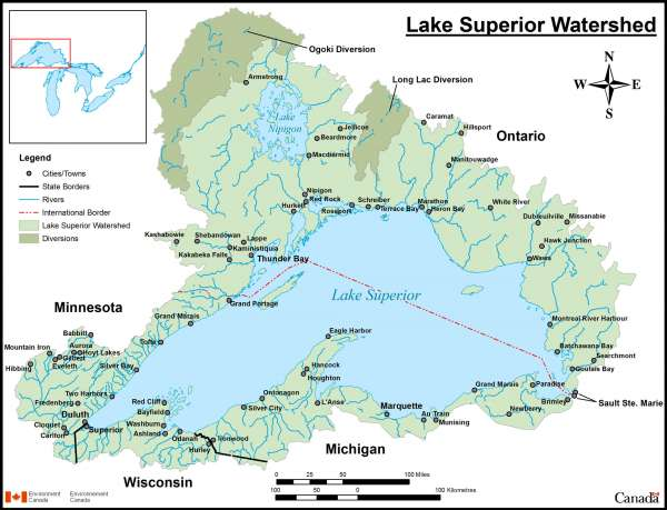 Lake Superior Watershed Map